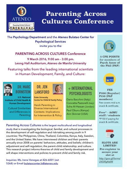 Parenting Across Cultures Conference | Bulatao Center