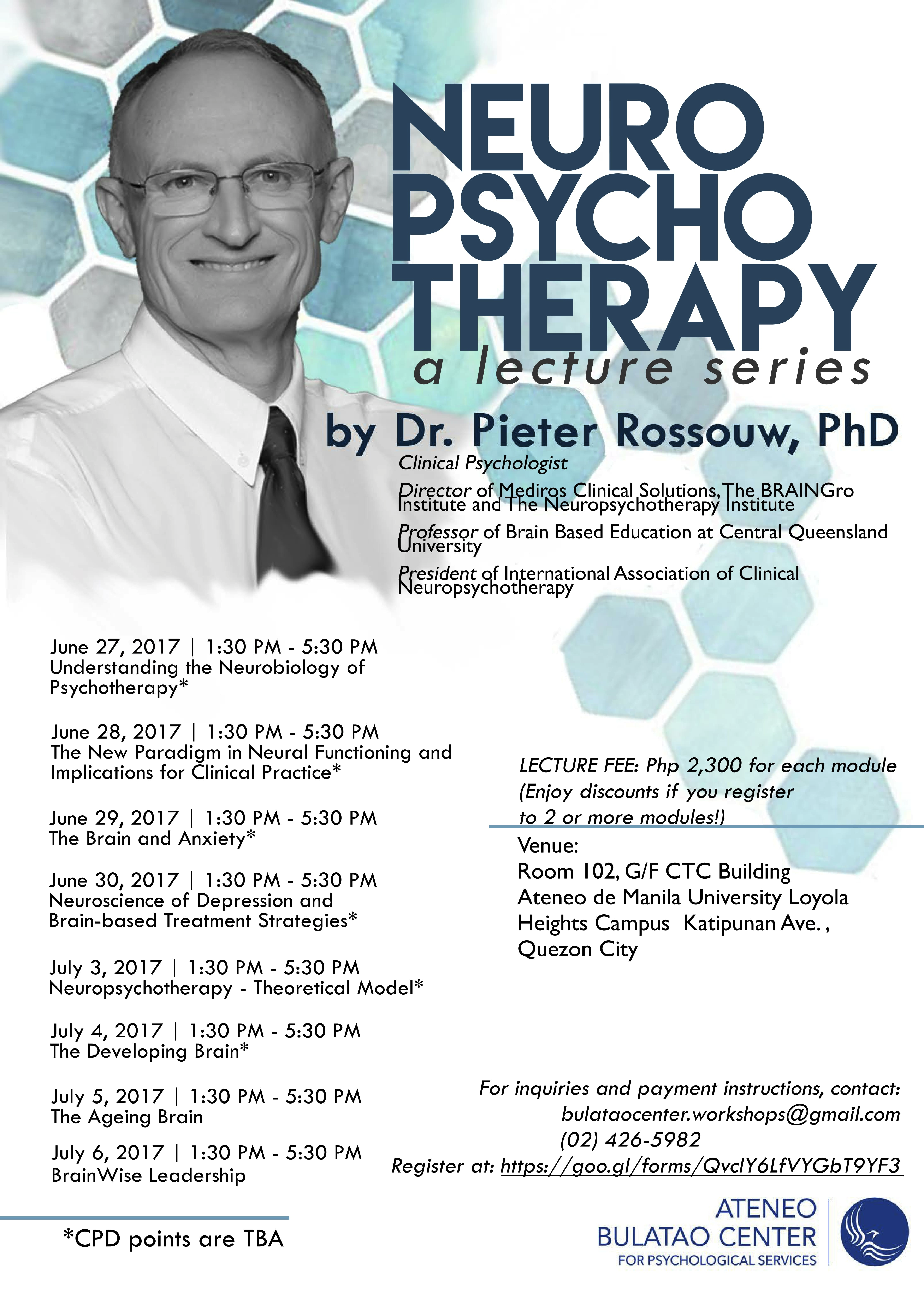 Neuropsychotherapy lecture series